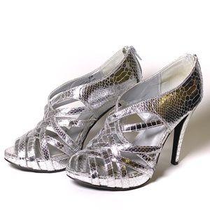 Silver Snakeskin Cathy Jean High Heels